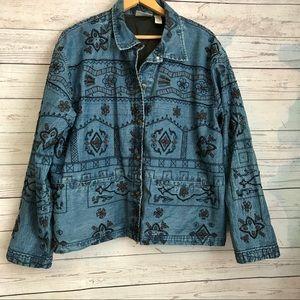 Size 3 Chico's Denim Blue Jacket Cotton Silk